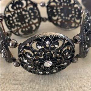 Black and rhinestone stretch bracelet